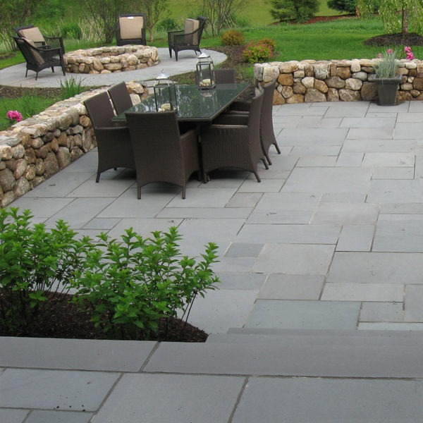 patio built with bluestone blue thermal
