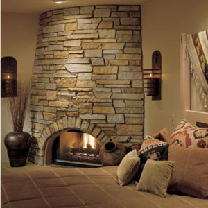 Eldorado - cliffstone, mesquite stone used on indoor fireplace