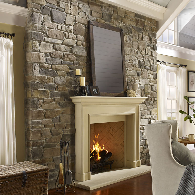 Eldorado stone used on indoor fireplace