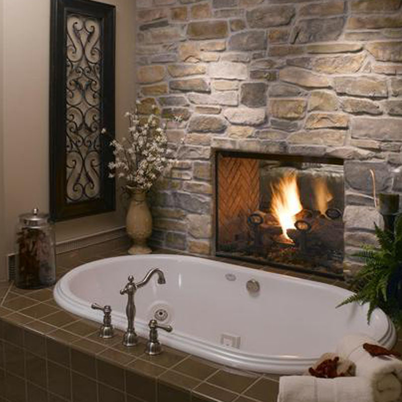 Eldorado stone used on indoor bathroom fireplace