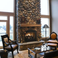 Eldorado stone used on indoor fireplace in living room