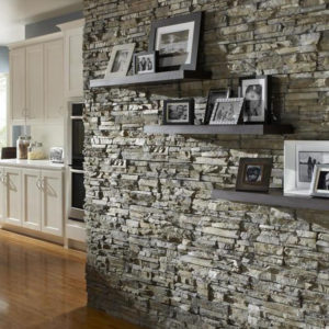 Eldorado stacked stone, nantucket used on wall in a kitchen