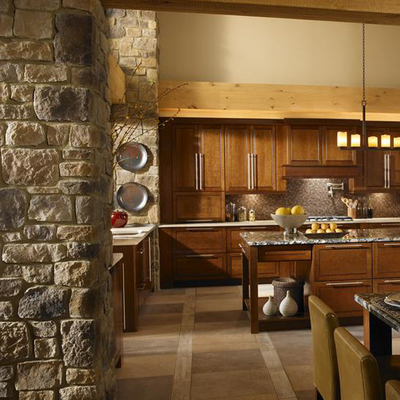 Pillars along a kitchen built with eldorado stone