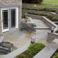 Eldorado Stone bluestone Walkway and patio with bluestone and eldorado stacked stone