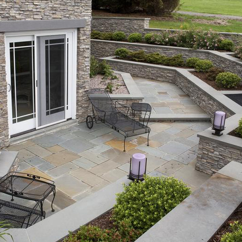 Walkway And Patio With Bluestone And Eldorado Stacked Stone
