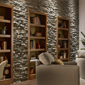 Eldorado stacked stone nantucket on bookcase wall