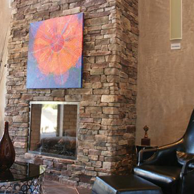 Stonecraft - ledgestone, bucktown stone used on indoor fireplace