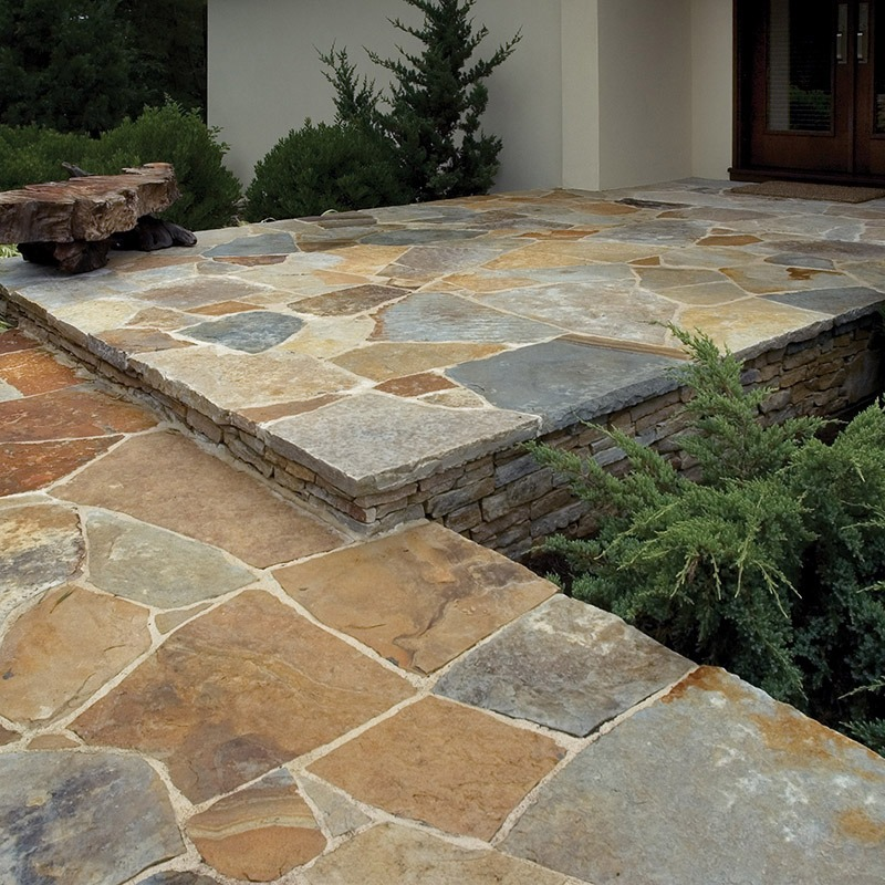 Front entrance and walkway built with champlain, south bay irregular flagging