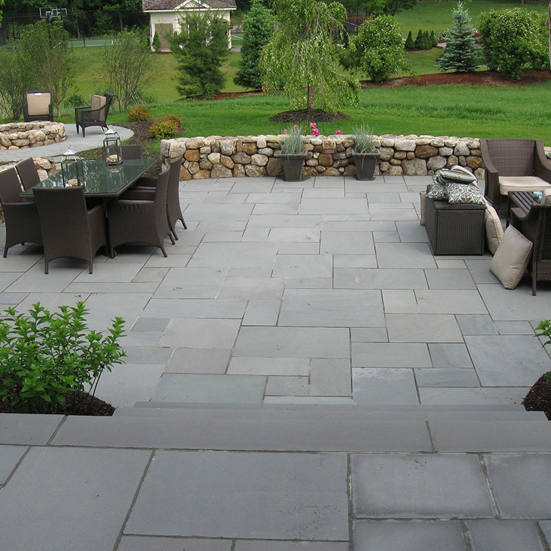 Thermal blue bluestone on an outdoor patio