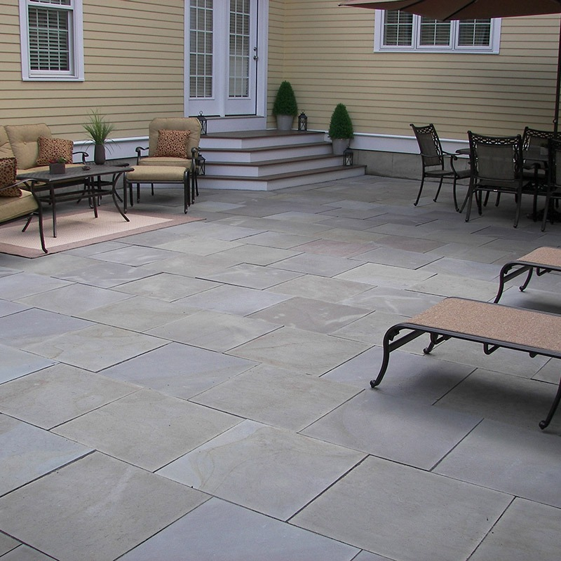 Outdoor patio built with thermal blue bluestone