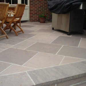 Outdoor patio built with brown wave