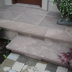 Brown wave front steps with lilac, brown & plum highlights