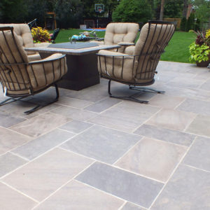 Patio built with brown wave pattern