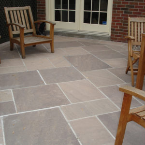 Patio sitting area built with brown wave pattern