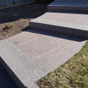 Steps built with custom granite dakota mahogany