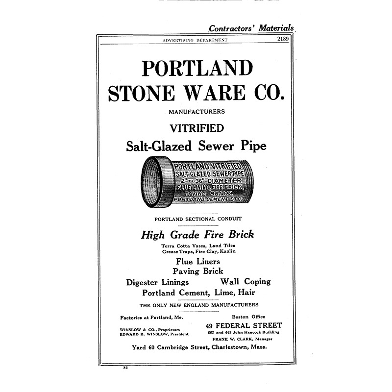 PORTLAND STONE WARE SALT-GLAZED SEWER PIPE - Portland Stone Ware Co