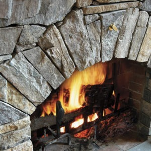 Champlain - american granite, ledge stone used on indoor fireplace