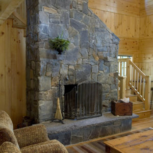 Champlain - american granite stone used on fireplace and chimney