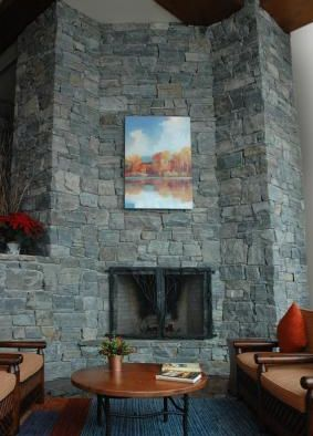 Champlain - corinthian, ashlar veneer stone on indoor fireplace