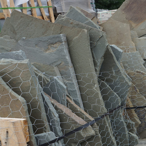 close up of irregular bluestone mixed color natural cleft