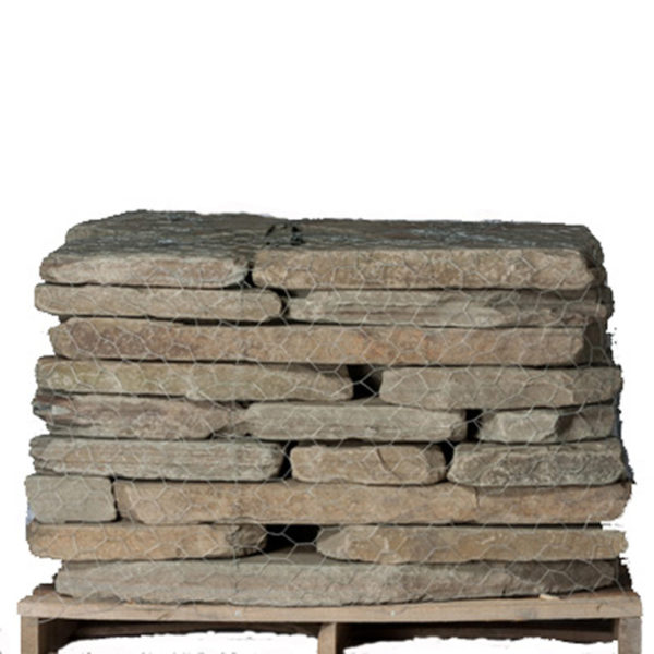 tumbled colonial bluestone on a pallet on a white background