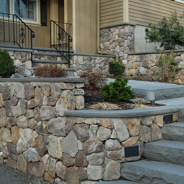 PSW white mountain wallstone at entrance of home