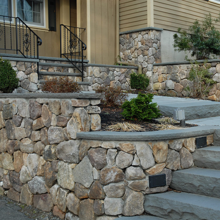 PSW white mountain wallstone at entrance of home