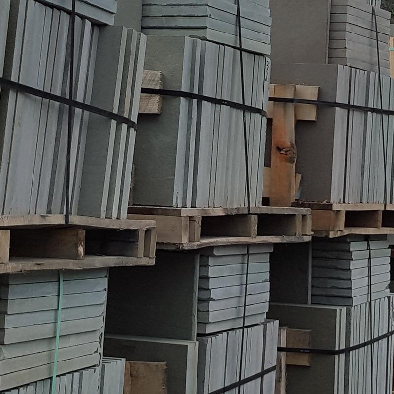 stacked bluestone pattern in warehouse