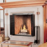 rumford fireplace with red firebrick