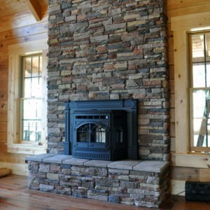 M-rock ledge stone on indoor fireplace