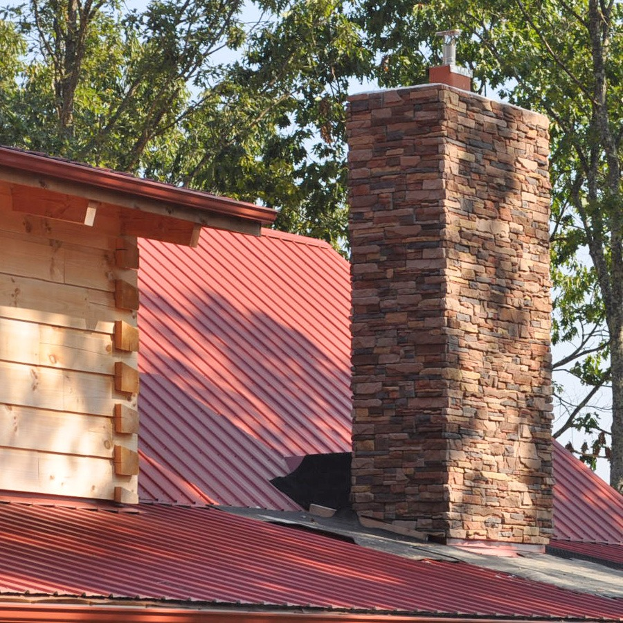 M-rock ledge stone on chimney fireplace
