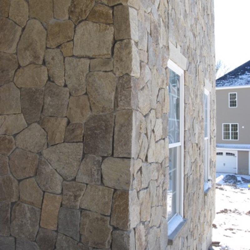 PSW natural thin veneer antique granite square rec on garage