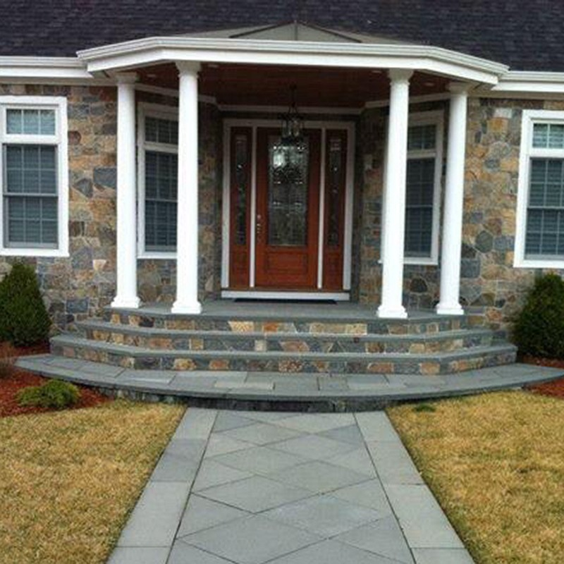 PSW natural thin veneer new england blend mosaic as veneer on home and front porch steps