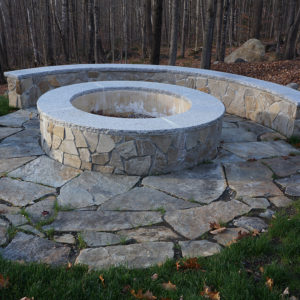 Outdoor firepit with stanstead granite capping