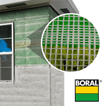 Boral Drain N Dry Lath shown on a building with a close up view of the material