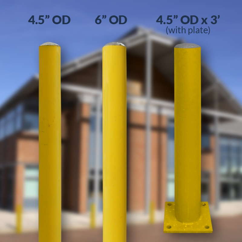 3 yellow bollards with their sizes displayed, with a background image of a building
