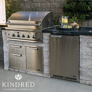 outdoor kitchen built with kindred cabinets