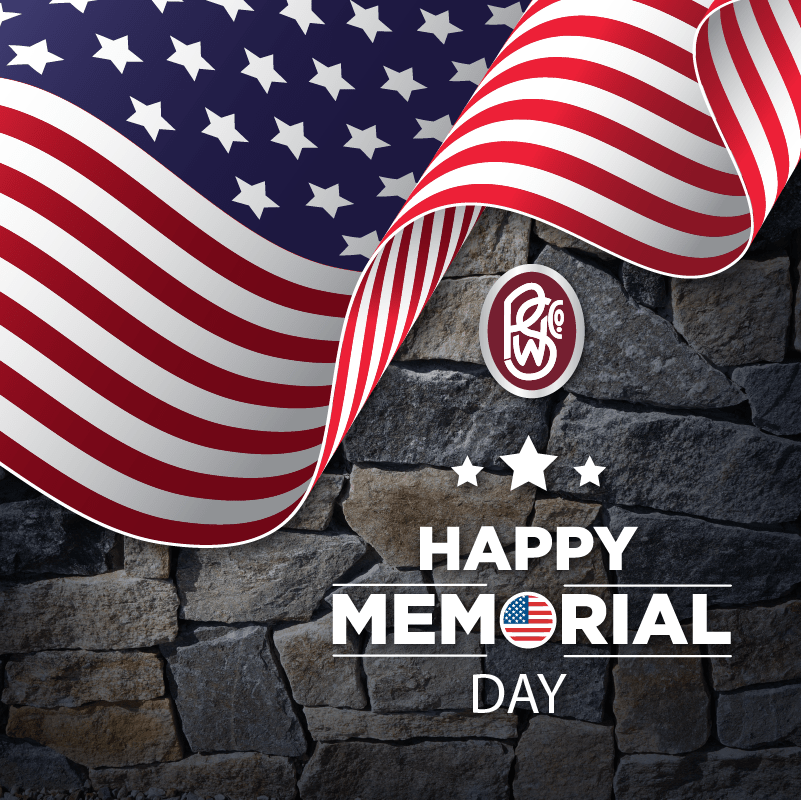 Happy Memorial Day graphic with stone background and the American flag